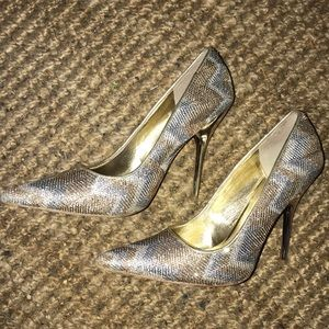 Aldo Silver and Gold Sparkly Pointy Heels